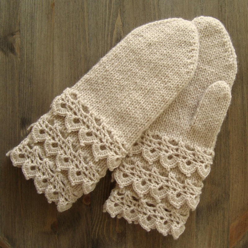 Lace Mittens Knitting Pattern : Mixed Techniques 1 - Woolen Mitten